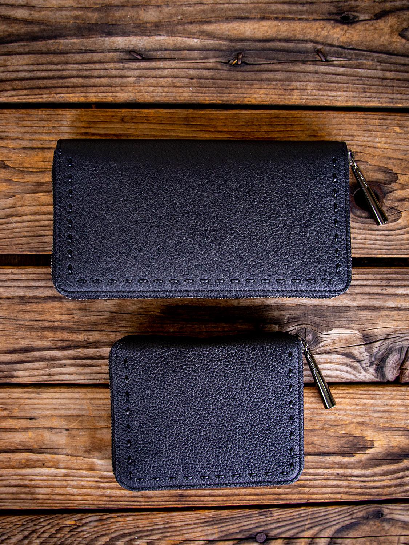 NAGATANの最高級シュリンクレザー・エスポワールで造るユニセックスデザインが男女ともに人気でロングセラーの本革ウォレット[長財布&財布]SAHOとBONNYのBLACK×BLACKが揃いました。