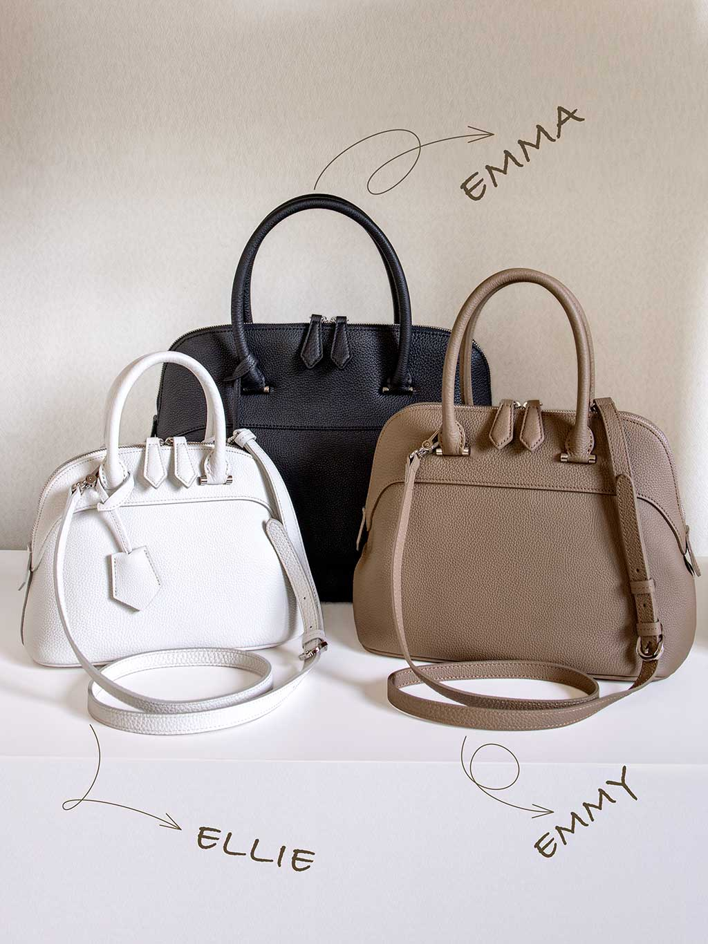 人気のシュリンクレザーで仕上げるブガッティ型の本革バッグ、エマとエミーとエリーの可愛いくて完璧な三姉妹。