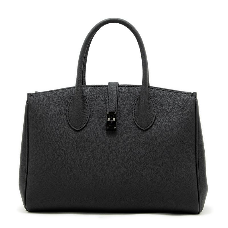 日本製ブランド「NAGATANI」ÉLIANE BLACK 最高級シュリンクレザー・エスポワール[トゴ] 本革2WAYトートバッグ