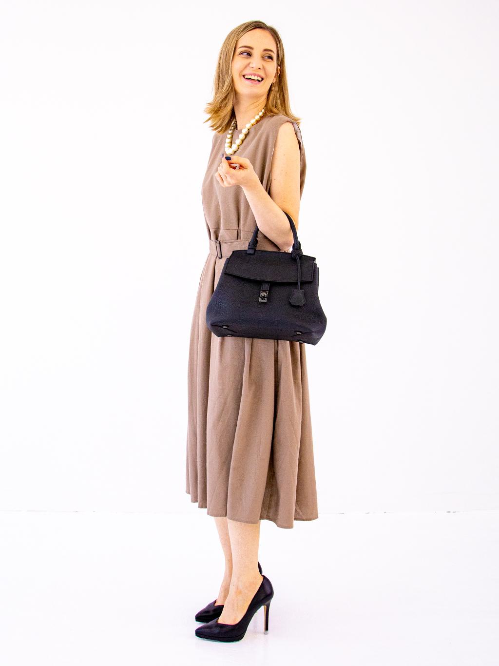 日本製 NAGATANI ドイツ産シュリンクレザー・スプレス 本革ハンドバッグ「ELISABETH(えりざべーと)」