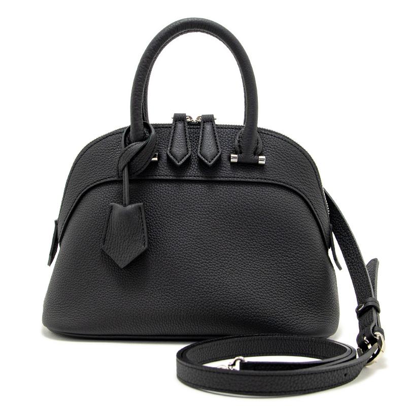 日本製ブランド「NAGATANI」人気のブガッティ型 ELLIE BLACK 最高級シュリンクレザー・エスポワール[トゴ] 本革2WAYハンドバッグ