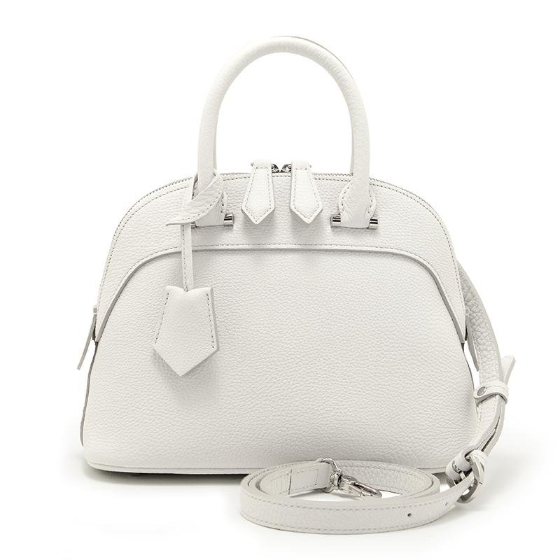 日本製ブランド「NAGATANI」人気のブガッティ型 ELLIE WHITE 最高級シュリンクレザー・エスポワール[トゴ] 本革2WAYハンドバッグ