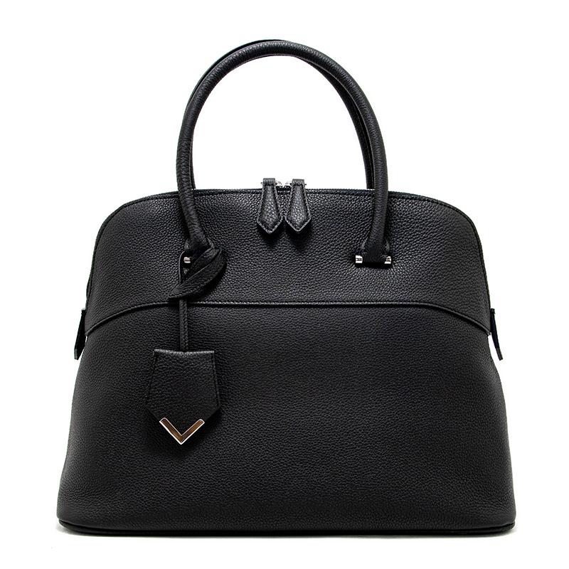 日本製ブランド「NAGATANI」人気のブガッティ型 EMMA BLACK 最高級シュリンクレザー・エスポワール[トゴ] 本革ハンドバッグ
