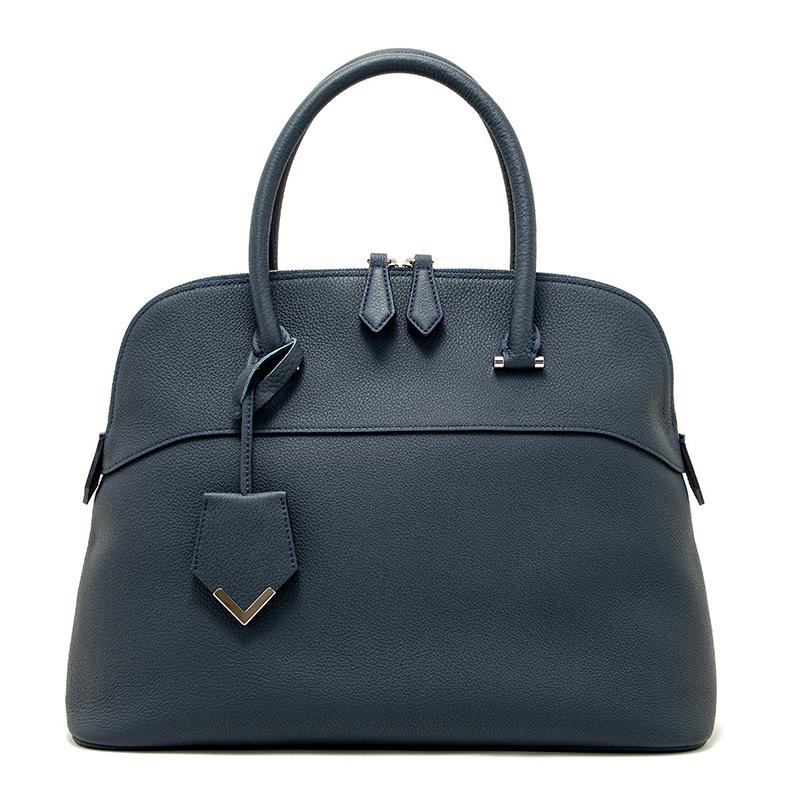 日本製ブランド「NAGATANI」人気のブガッティ型 EMMA NAVY 最高級シュリンクレザー・エスポワール[トゴ] 本革ハンドバッグ