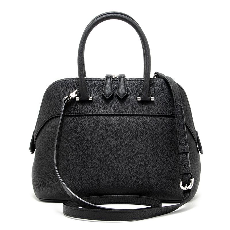 日本製ブランド「NAGATANI」人気のブガッティ型 EMMY BLACK 最高級シュリンクレザー・エスポワール[トゴ] 本革2WAYハンドバッグ