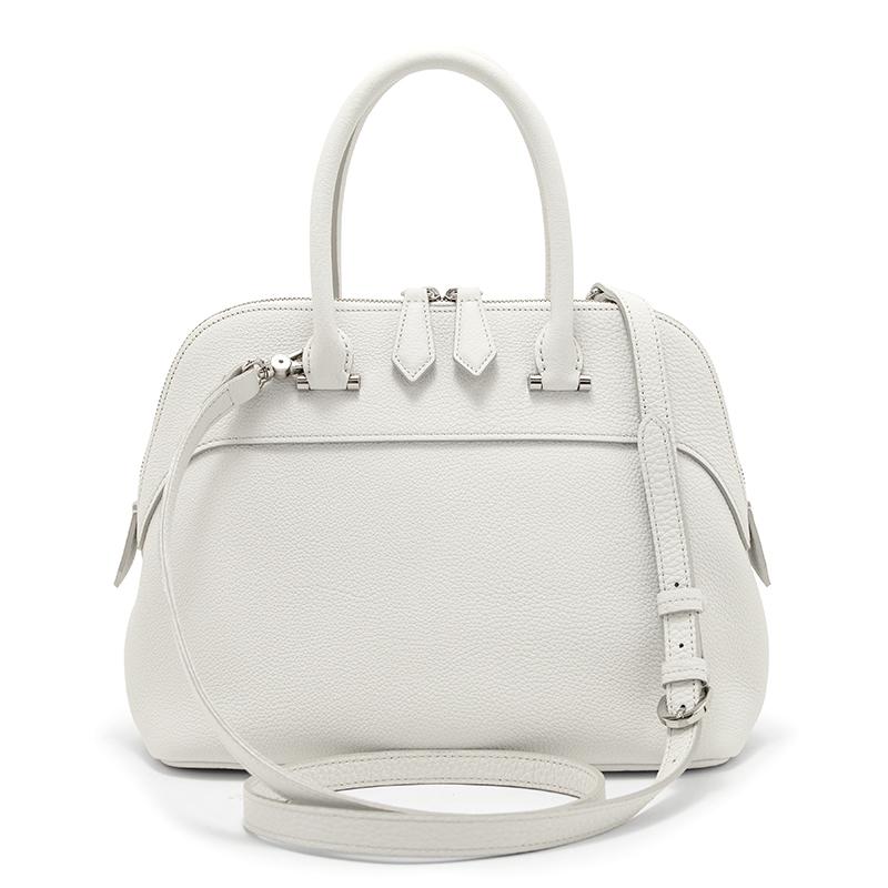 日本製ブランド「NAGATANI」人気のブガッティ型 EMMY WHITE 最高級シュリンクレザー・エスポワール[トゴ] 本革2WAYハンドバッグ