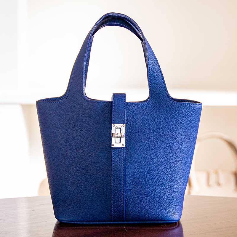 日本製 NAGATANI ドイツ産シュリンクレザー ピコタン 本革ハンドバッグ RINA [BLUE]