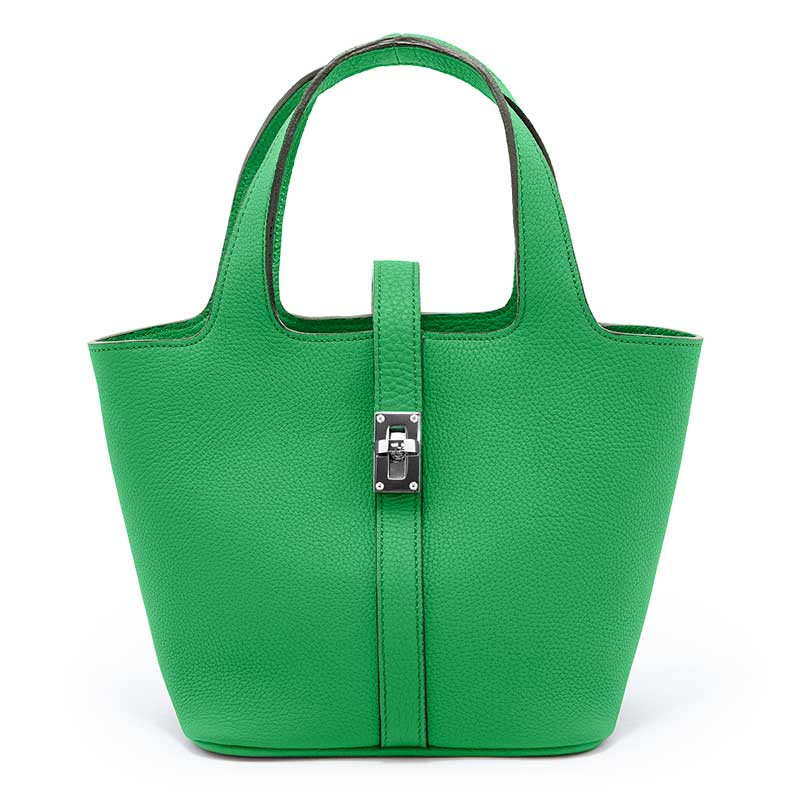 日本製 RINA [GREEN(グリーン)] 最高級シュリンクレザー・エスポワール  本革ハンドバッグ・ミニトート