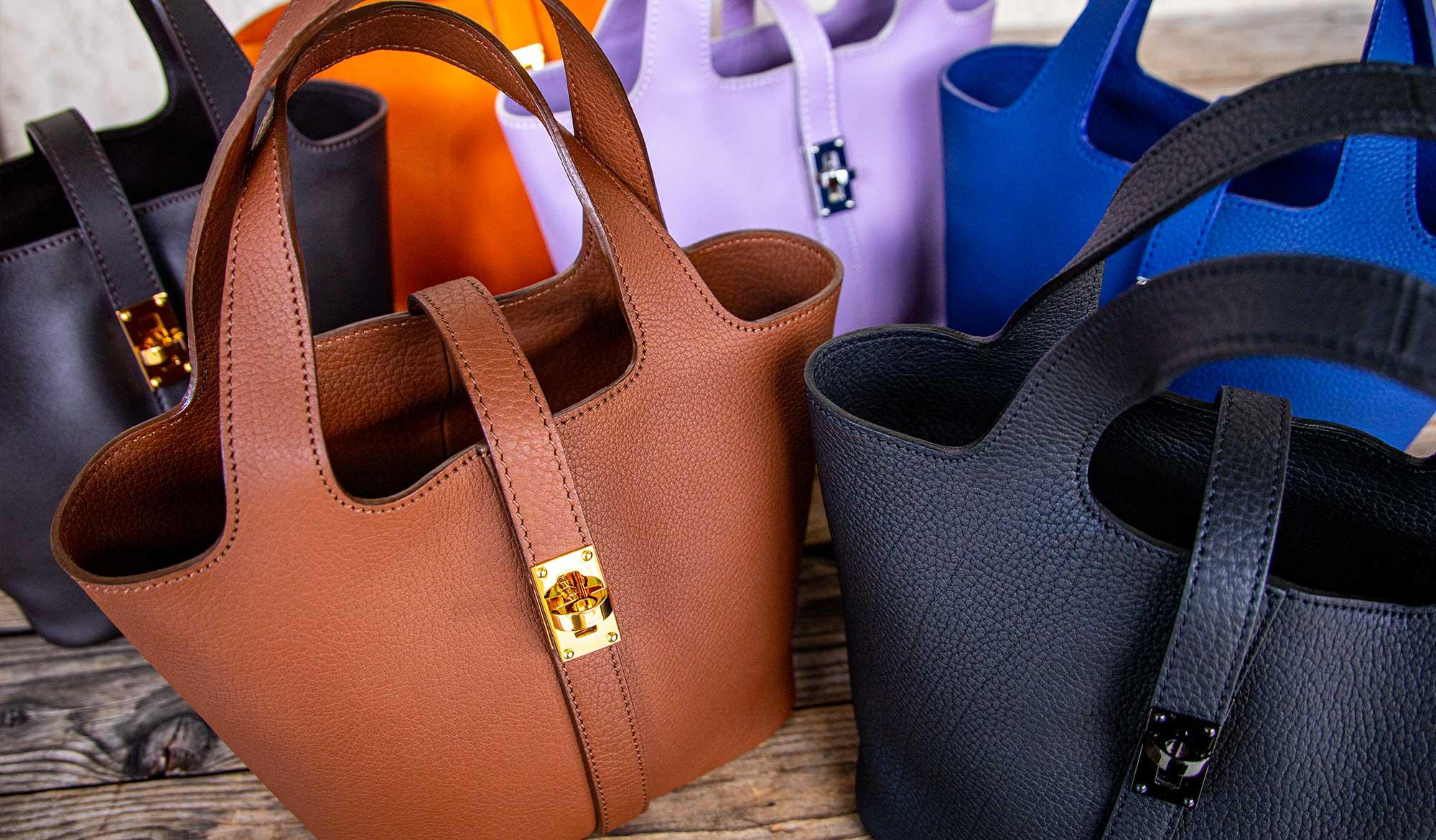 日本製ブランド「NAGATANI」大きすぎず小さすぎず、必要なアイテムはしっかり入るピコタン型の本革ミニトートバッグ『RINA』