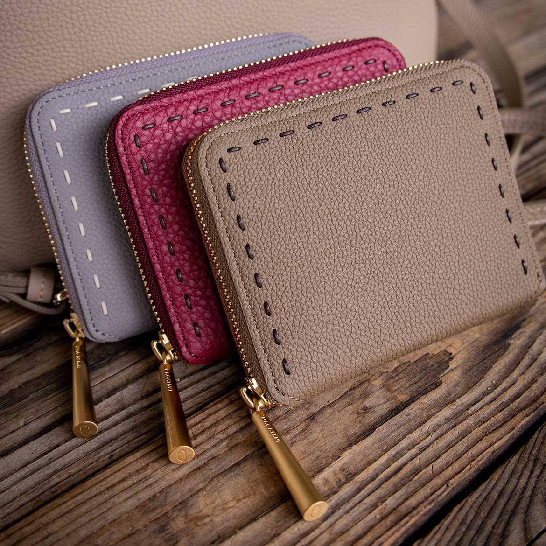 最高級シュリンクレザー・エスポワールで造る日本製のラウンドジッパー二つ折財布[本革ウォレット]BONNYに秋の新色!秋財布の季節だよ。