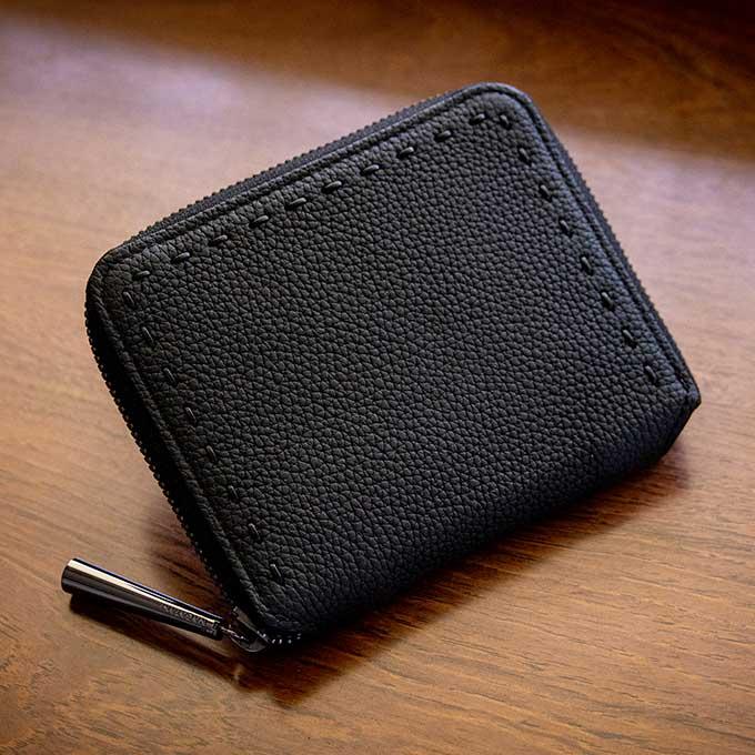 日本製 NAGATANI シュリンクレザー・エスポワール 本革ウォレット[ラウンドファスナー長財布] BONNY [BLACK×BLACK]