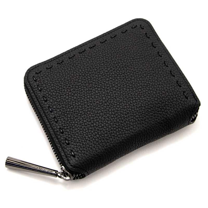 日本製 BONNY [BLACK×BLACK] シュリンクレザー・エスポワール 本革ウォレット[ラウンドファスナー二つ折財布]