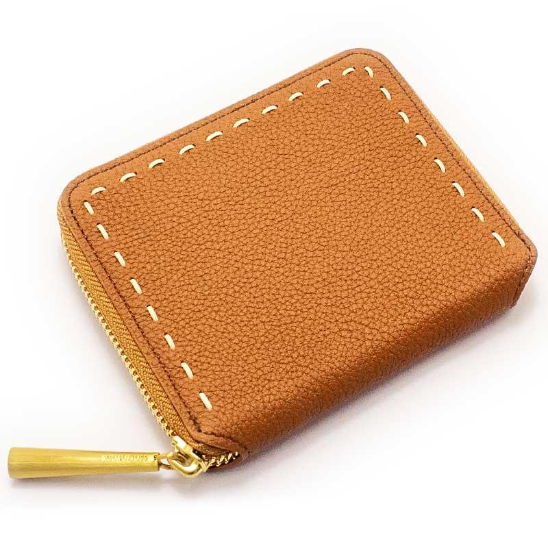 日本製 BONNY [CAMEL] シュリンクレザー・エスポワール 本革ウォレット[ラウンドファスナー二つ折財布]