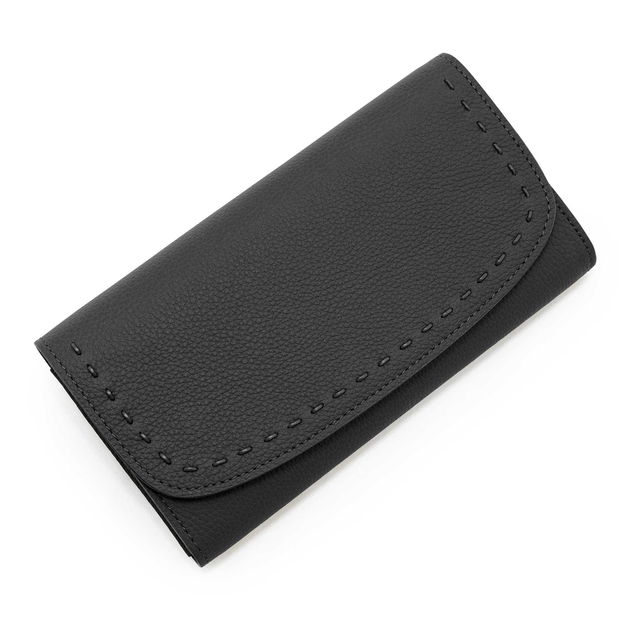 日本製 LILY [BLACK×BLACK 限定色] シュリンクレザー・エスポワール 本革ウォレット[かぶせ式(エンヴェロップ型)長財布]