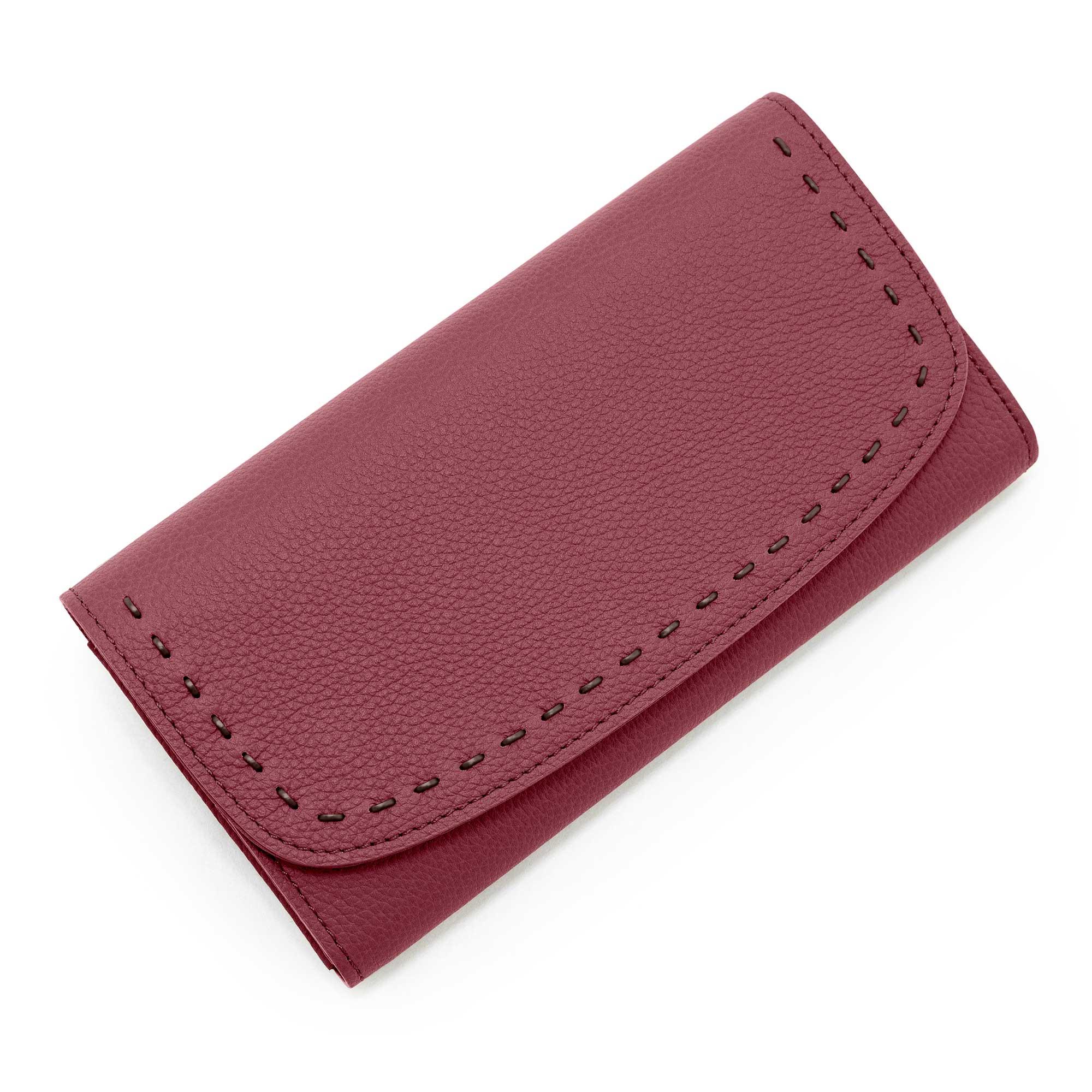 日本製 LILY [MAROON 限定色] シュリンクレザー・エスポワール 本革ウォレット[かぶせ式(エンヴェロップ型)長財布]