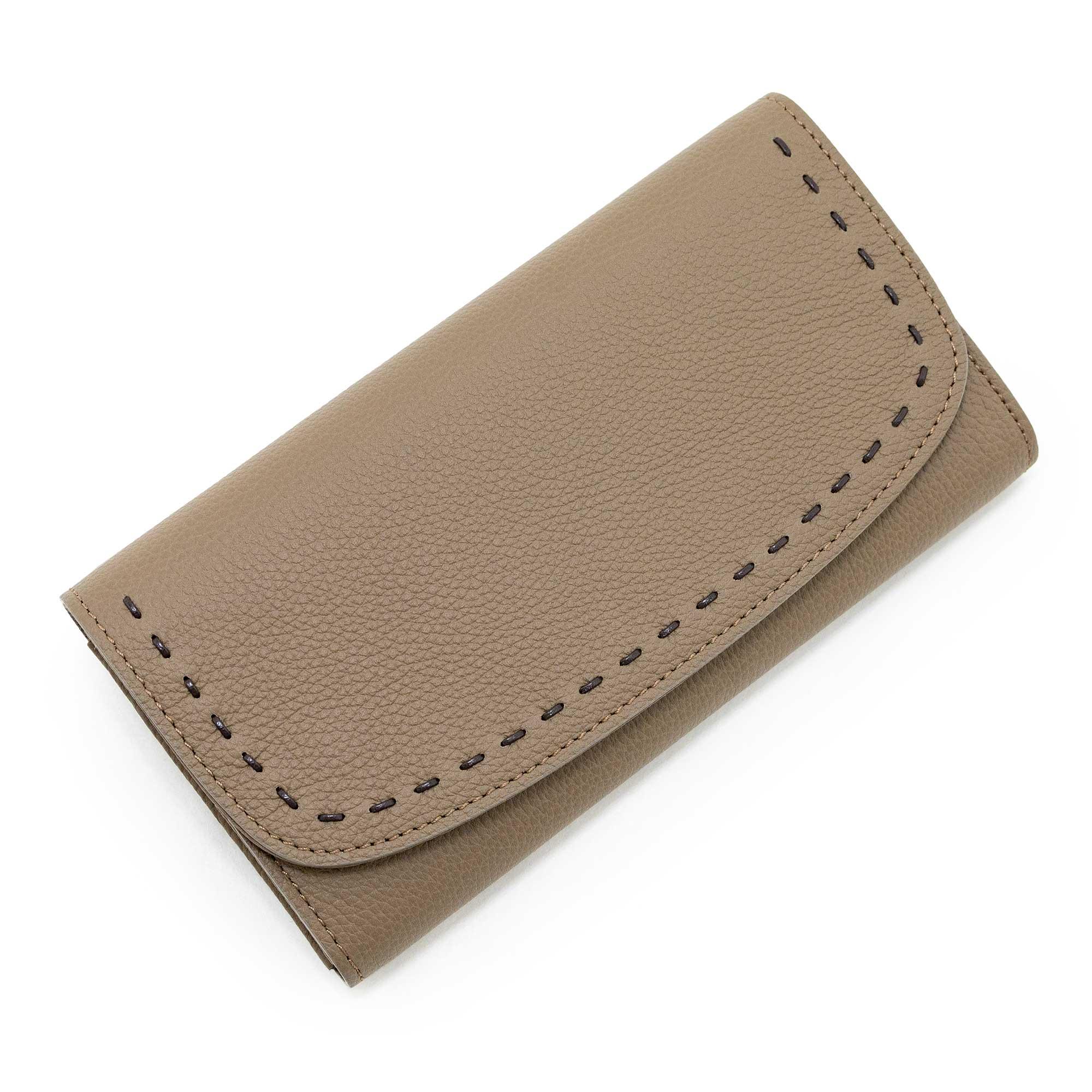 日本製 LILY [OAK 限定色] シュリンクレザー・エスポワール 本革ウォレット[かぶせ式(エンヴェロップ型)長財布]