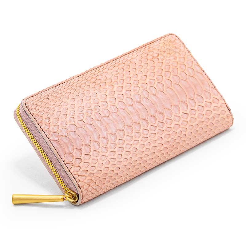 日本製 NAGATANI 金運アップの縁起物、ダイヤモンドパイソンレザーの本革ウォレット(ラウンドファスナー長財布)『POWDER』財布の新調にぜひ。