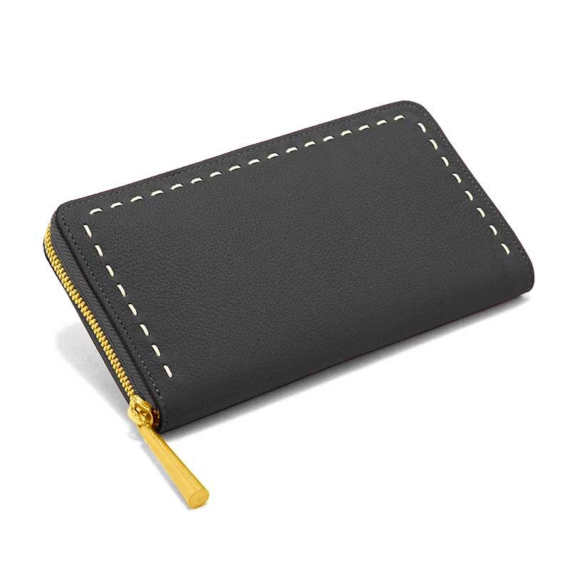 日本製 SAHO [BLACK] シュリンクレザー・エスポワール 本革ウォレット[ラウンドファスナー長財布]