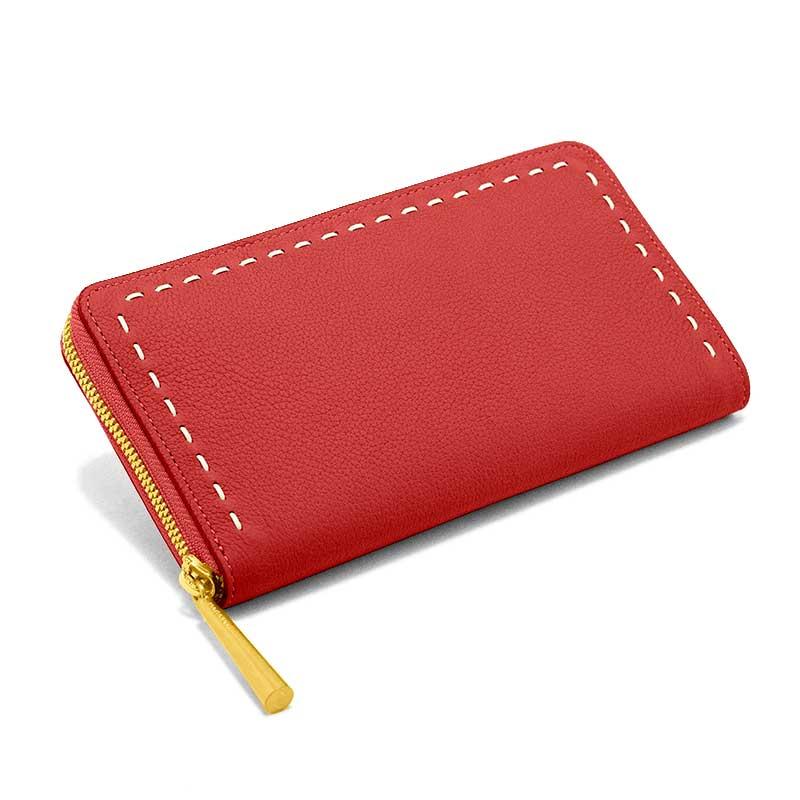 日本製 SAHO [RED] シュリンクレザー・エスポワール 本革ウォレット[ラウンドファスナー長財布]