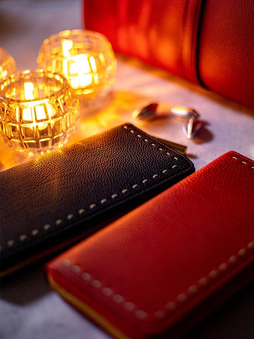 最高級の本革シュリンクレザー・エスポワールで造られる人気NO.1のラウンドジッパーウォレット(長財布)SAHO