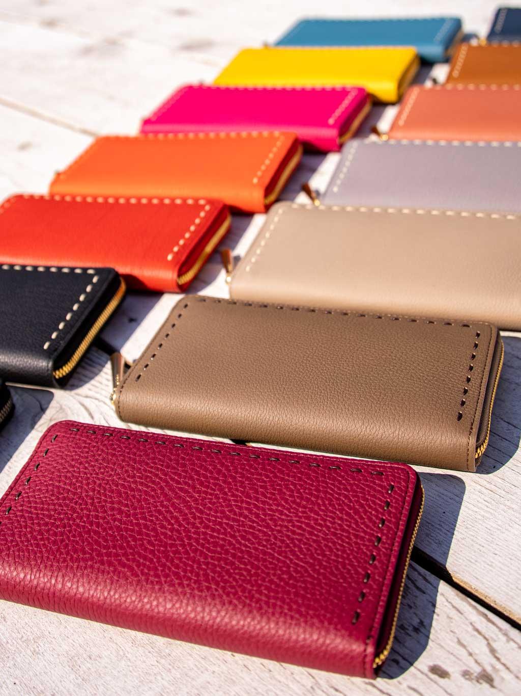 最高級シュリンクレザー・エスポワールで造る日本製のラウンドジッパー長財布[本革ウォレット]SAHO!秋財布の季節だよ。